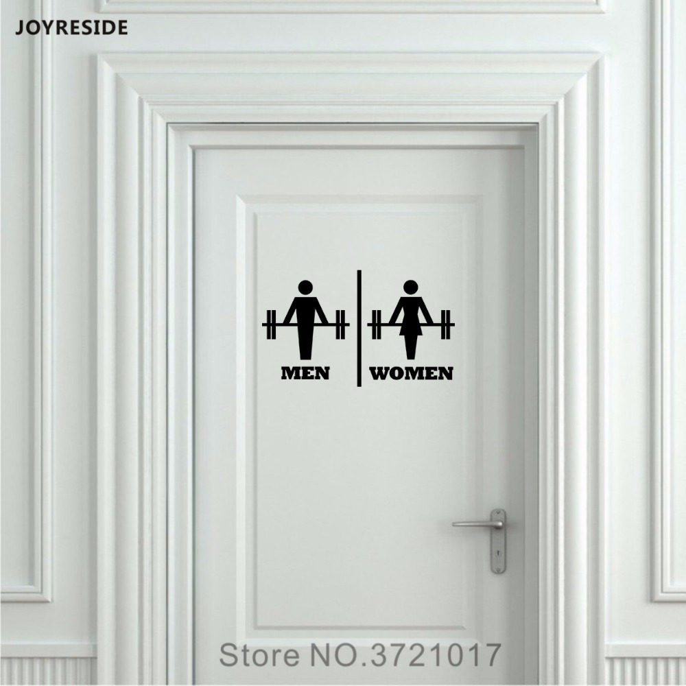 JOYRESIDE Men Women Weight Unisex Restroom Bathroom Toilet Door Wall Decal Vinyl Sticker Funny Decor Muscles Gym Workout XY095