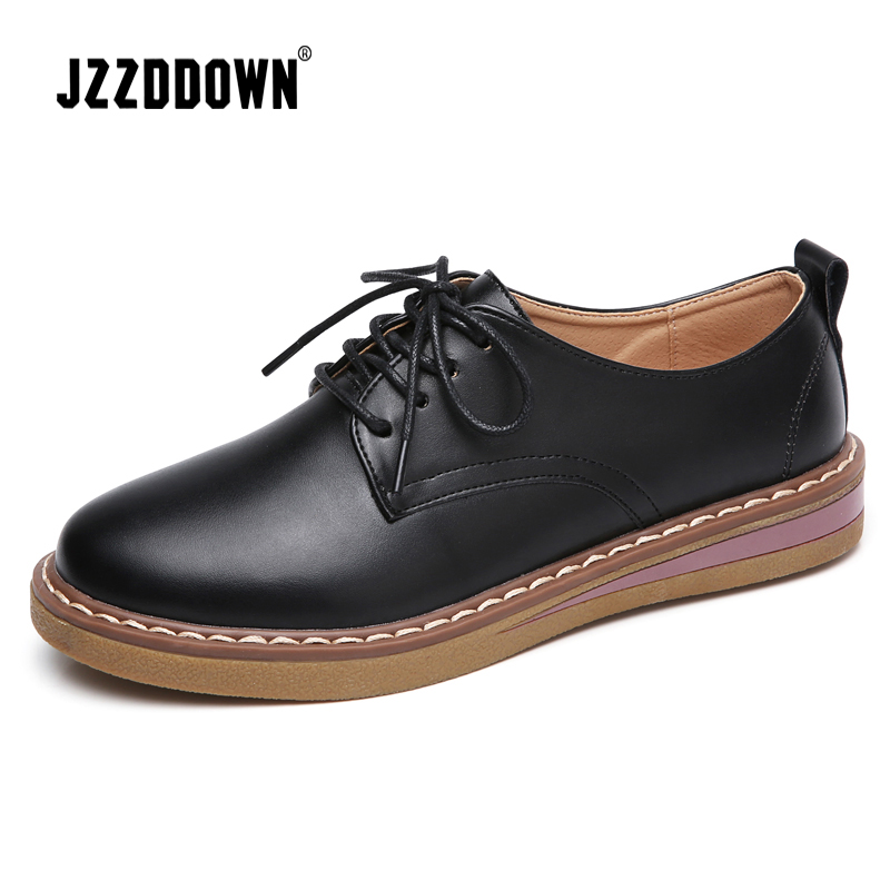 JZZDDOWN women oxford shoes warming fur women's genuine leather shoes Large Size Ladies loafers shoes woman sneakers footwear(China)