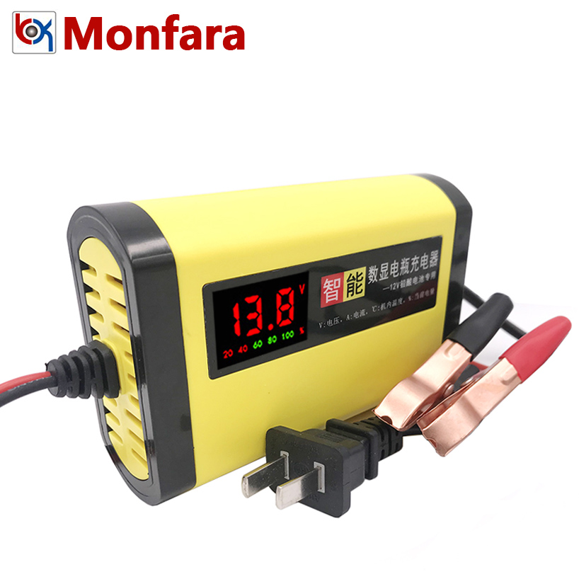 Smart Motorcycle Car Battery Charger 12V 2A Full Automatic 3 Stages Lead Acid AGM GEL Intelligent LCD Display 12 Volt 10AH 20AH 12v lead acid battery trickle charger full automatic car van motorcycle intelligent battery charger