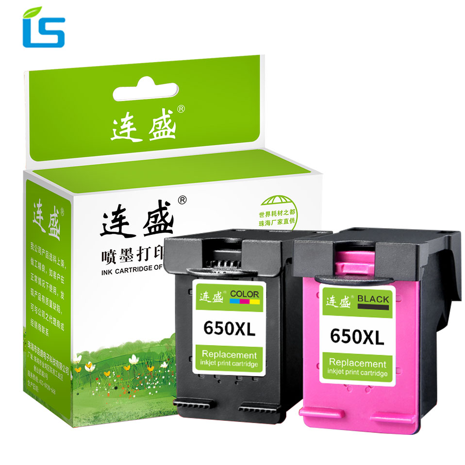 2Pcs/set 650XL Refilled Ink Cartridge Replacement for <font><b>HP</b></font> 650 XL For <font><b>HP</b></font> Deskjet 1015 1515 2515 2545 2645 <font><b>3515</b></font> 4515 4645 Printers image