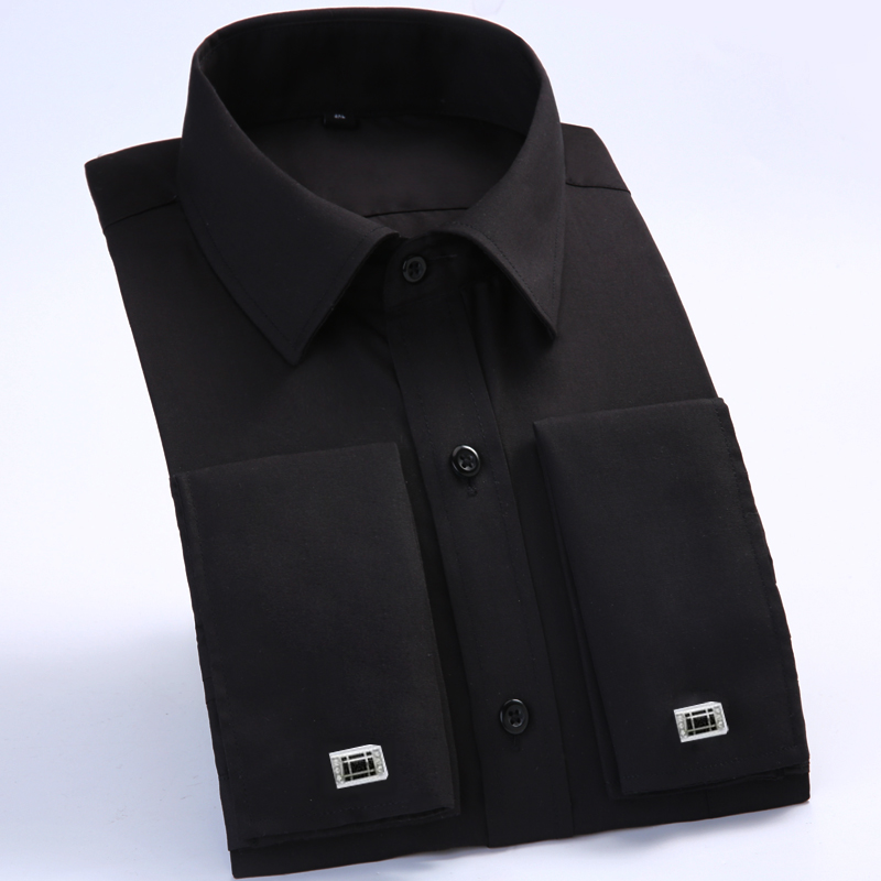 2017 Hot summer French cufflinks shirtsMen s black striped long sleeved shirt commercial men s slim