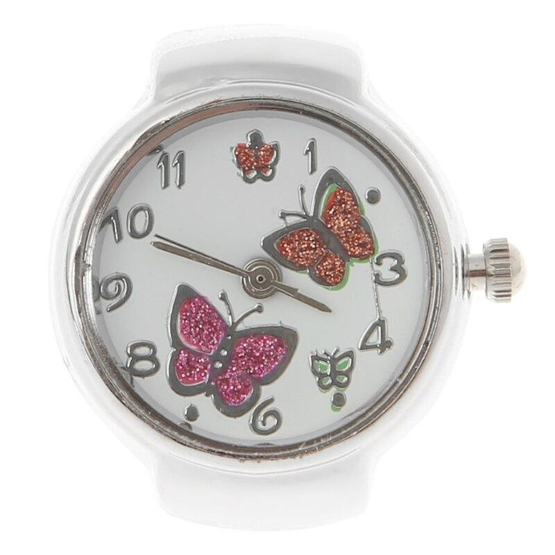 Femmes cadran Quartz analogique bague montre papillon élastique cadeau créatif acier #02