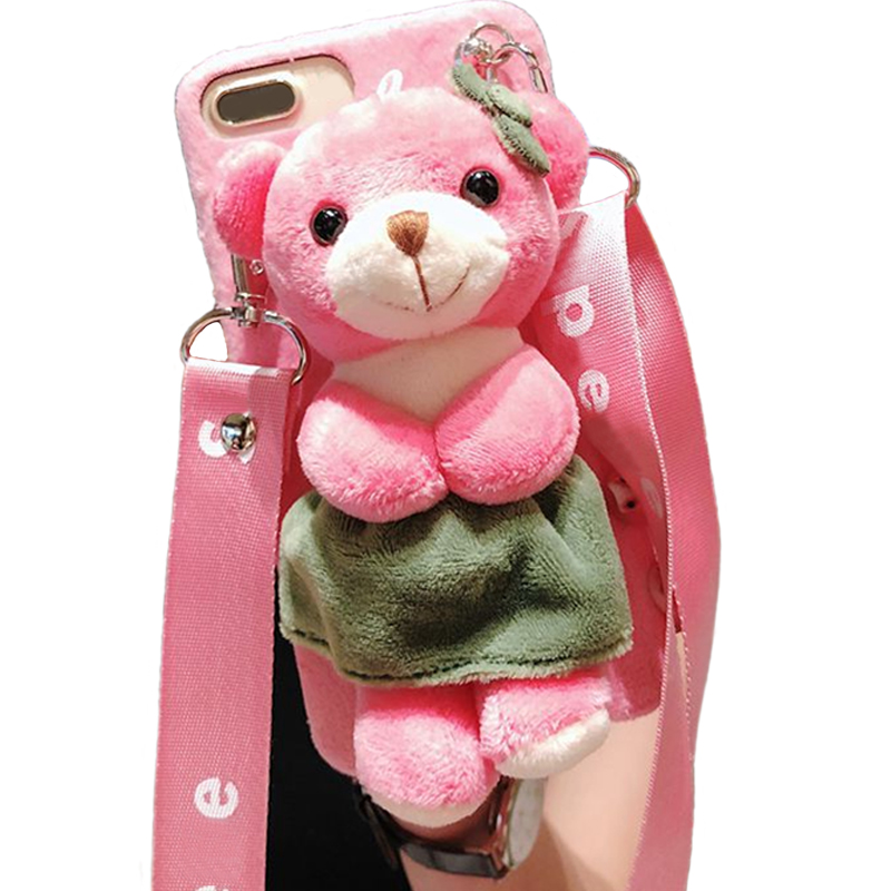 Cartoon Doll Toy Bear Phone Case, 3d Cute Stripes Plush Strap Soft Cover with Bracket Stand for 7 8 Case Shell