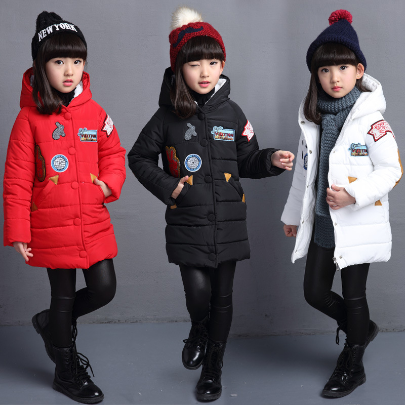 ФОТО New Kids Long Girls Winter Coat Thermal Padded Jacket Children Patch Parkas Clothes For Girls Quilted Jacket For Girls 120-160cm