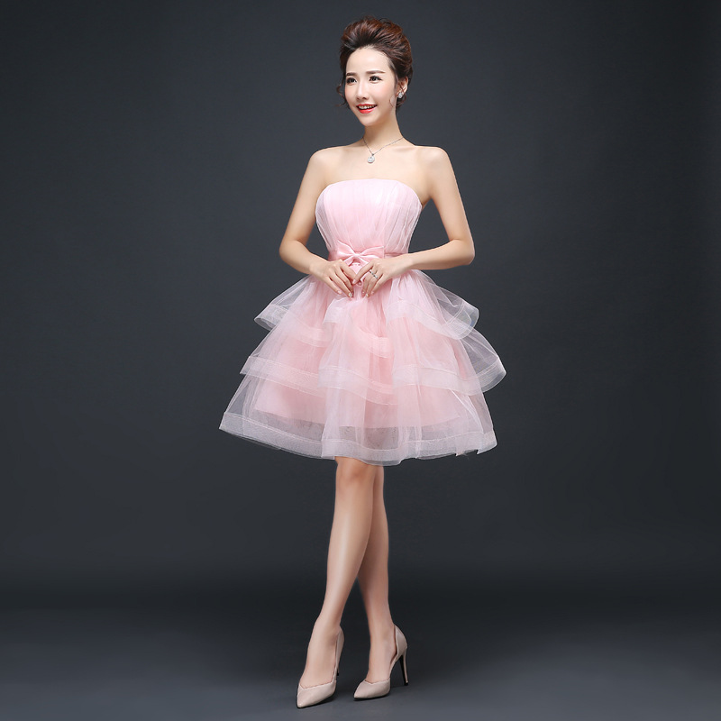 Fashion high quality 15 years kids cocktail girl dresses pink red champagne strapless neck