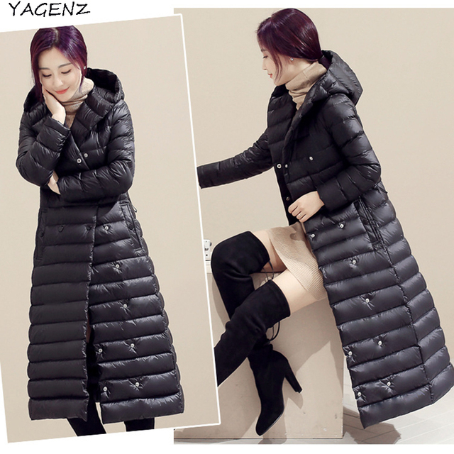 Best Price 2017 Winter Coat Down jacket Women Winter jacket Long Hooded collar High quality Eiderdown cotton Warm coat Promotion YAGENZ A65