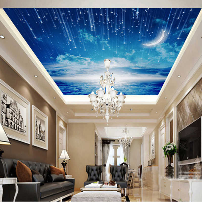 3D photo wallpaper Blue sky wallpaper mural ceiling living room bedroom large roof decoration room wallpaper