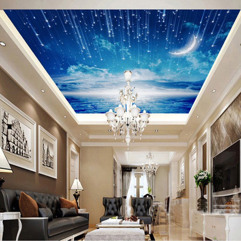 3D photo wallpaper Blue sky wallpaper mural ceiling living room bedroom large roof decoration room wallpaper high definition sky blue sky ceiling murals landscape wallpaper living room bedroom 3d wallpaper for ceiling