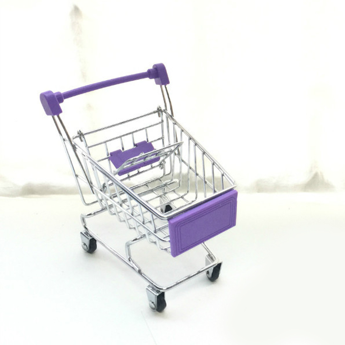 Newest Mini Supermarket Handcart Trolley Shopping Utility Cart Phone Holder Office Desk Storage Toy Cart Baby Toy