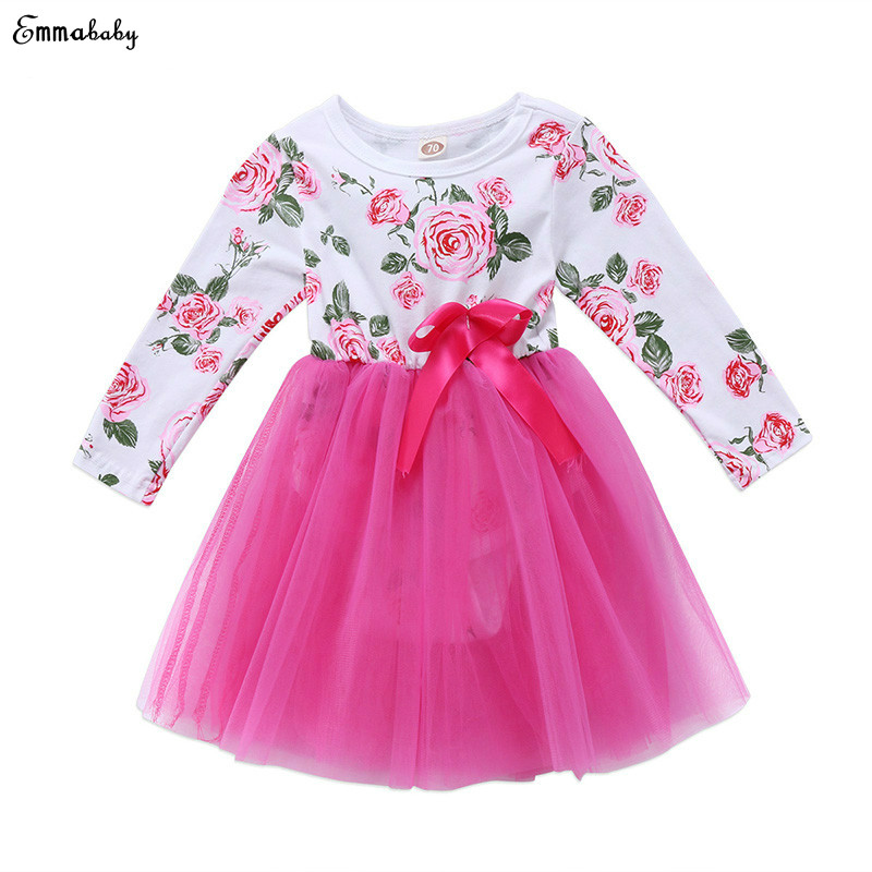 f12b3096 Emmababy Newborn Baby Girl Floral Dress Little Princess Toddler Kid Long  Sleeve Tutu Ball Gown Party