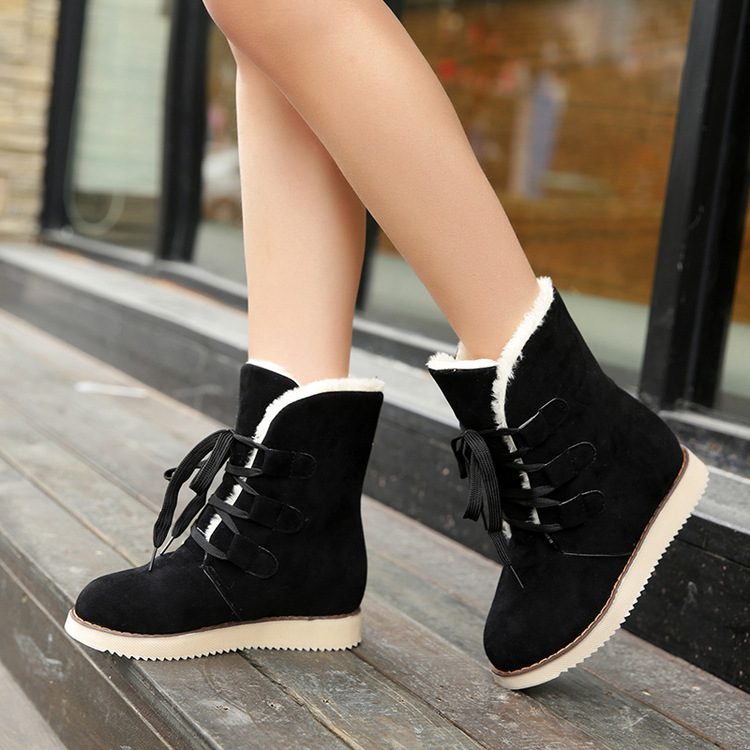 Brand Women Boots Female Winter Shoes Woman Warm Snow Boots Fashion Flock Ankle Boots Black Brown Red Size 35-40 Zapatos Mujer