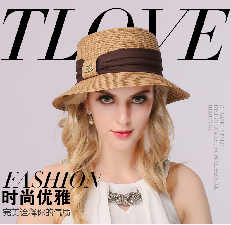 15cd24fb550 ... Summer Beach Panama Wide Brim Sun Cap Foldable Female Outside Hat.  B-3141. Suit for 56-58cm head circumference. Hat hight  About 11cm
