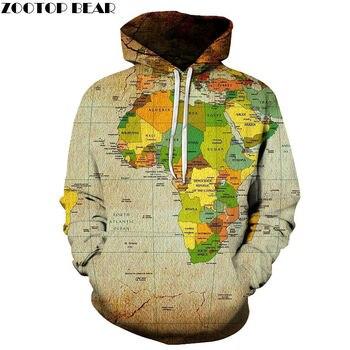 Universo África mapa 3D dibujo de primavera Casual Hoody sudaderas hombres chándal Hoodies Pullover Streetwear Unisex Drop ZOOTOP BEAR