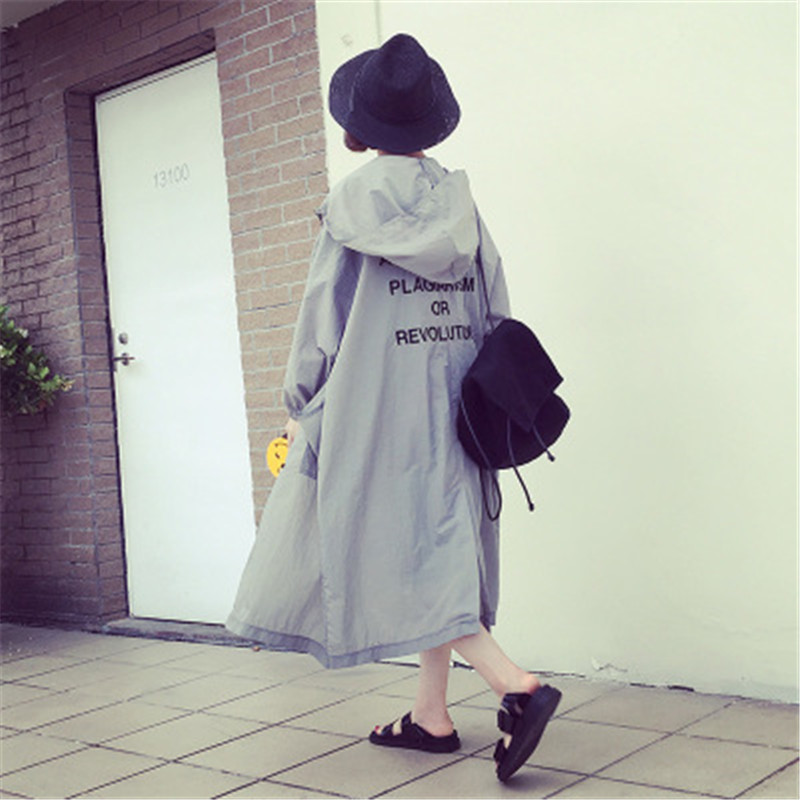 2019 Plus Size Hooded   Trench   Coat Women Letter Print Casual Loose Summer Sunscreen Fashion Long Sleeve Spring Cardigan Outerwear