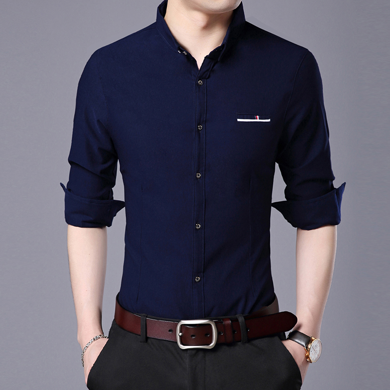 2019 Fashion Brand Designer Shirt Mens Solid Color Long Sleeve Slim Fit Streetwear Workout  Solid Color Casual Mens Clothing