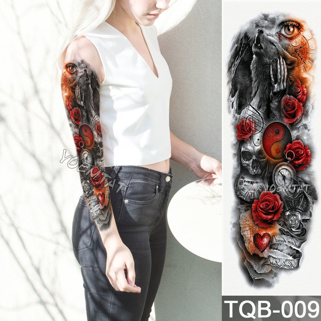 New 1 Piece Temporary Tattoo Sticker Yin And Yang Wolf Roses Pattern