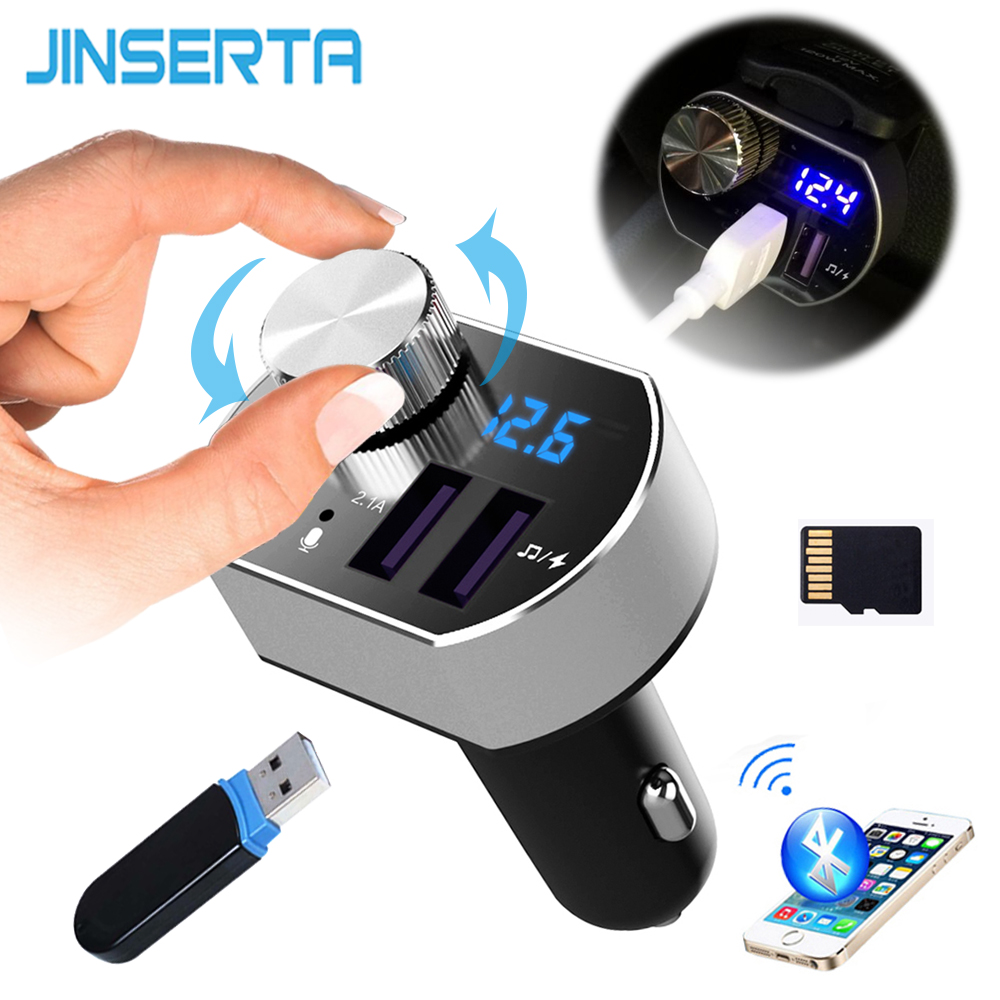 JINSERTA Car MP3 Player Support Lossless music FLAC Bluetooth FM transmitter LCD Dual USB 5V 3.1A Phone Charger TF USB Reader