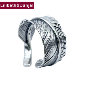 Men's Ring 100% Real 925 sterling silver Feather Brand Couple Ring Female Jewelry Thailand Silver Vintage Style Wholesale FR30(China)