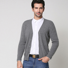 POEM&HEART 2017 New Autumn Winter V-Neck Recreation Business Men Knitted Sweater Pure Color Cashmere Wool Knitting Cardigan Men