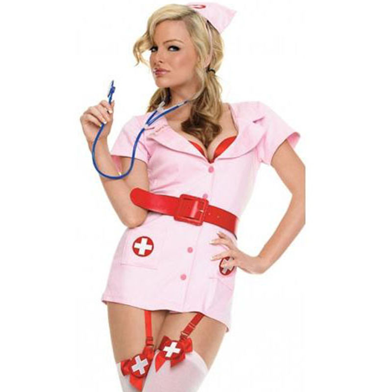 Women <font><b>Sexy</b></font> Pink Naughty Nurse <font><b>Costume</b></font> <font><b>Fancy</b></font> Party <font><b>Dress</b></font> <font><b>Sexy</b></font> Uniform Outfits Role Play Carnival Adult Halloween <font><b>Costume</b></font> image