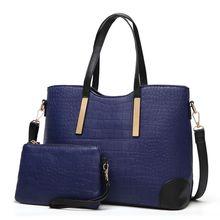 Ladies' Alligator Pattern Leather Crossbody Shoulder Tote Satchel Bag 2 Pieces Purse Set for Women croc pattern satchel bag