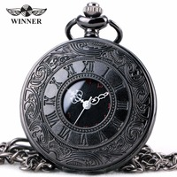 Unisex Fashion Quartz Pocket Watch Open Cover Roman Gothic Style Delicate Pattern Black Metal Case