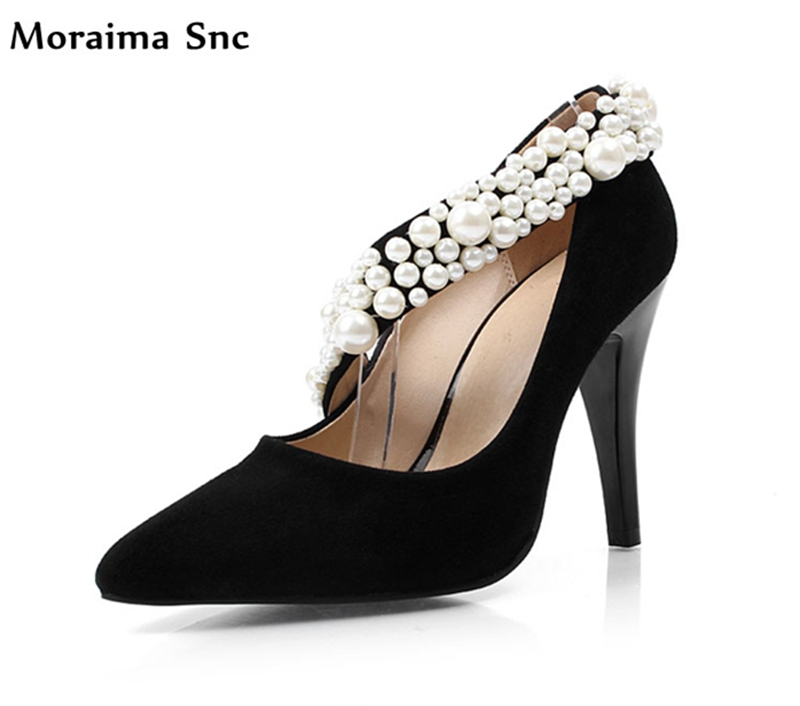 Moraima Snc Newest concise type sexy women pointed toe woman pumps 2018 shallow String Bead vintage suede high heel party shoes newest solid flock high heel pumps woman