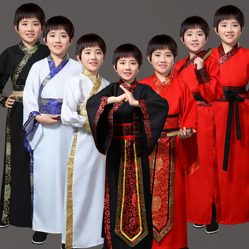 Ancient Chinese Costume Children's Stage Performance Outfit For Dynasty Hanfu Costume Satin Robe Chinese Traditional Dress Boy