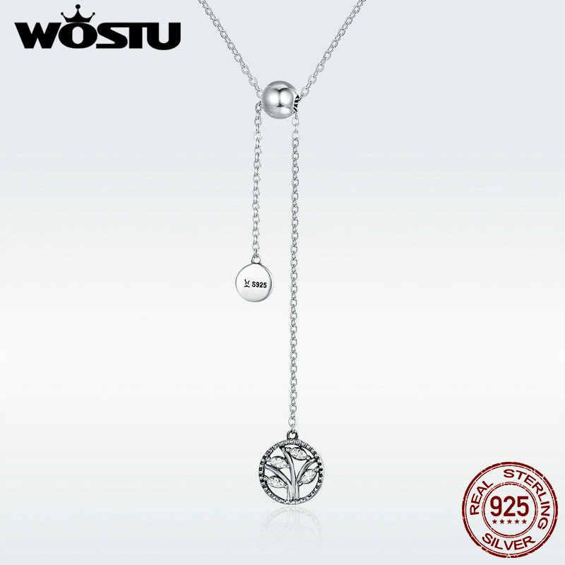 Wostuオリジナル 925 スターリングシルバーファミリーツリーのペンダントネックレス女性のためのS925 高級ジュエリー母ギフトDXN106