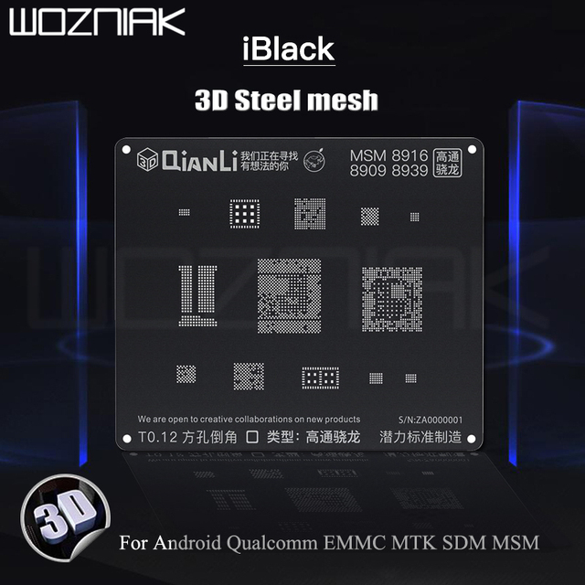 QIANLI iBlack 3D Steel mesh Reballing Stencil for Android Qualcomm EMMC DDR MTK 6582 MSM8917 8916 8937 8953 Steel mesh