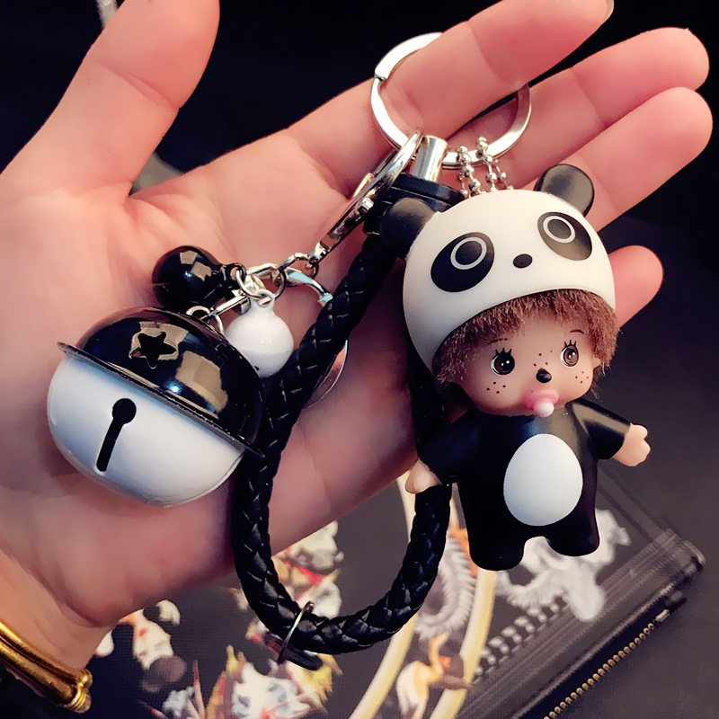 2017 Cute Panda Mickey Minnie Mouse Girl Women Monchichi Key Chain Keychain keyring Kiki Women Bag Charm Porte Clef