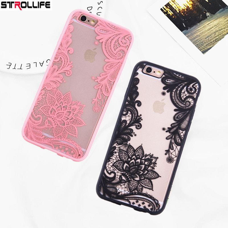 STROLLIFE Sexy Black Lace Flower Phone Cases For iPhone 6 case Retro Mandala Floral Clear Back