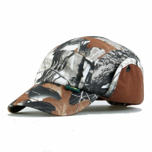 Jungle Camouflage Baseball Cap Men Warm Windproof Protect Ear Outdoor Bionic Cotton Autumn Winter Adjustable Snapback Tactical