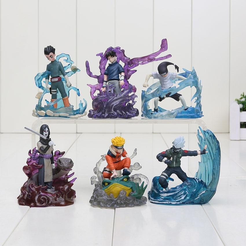 6Pcs/set 7cm Uzumaki Naruto Figure Orochimaru Rock Lee Neji Sasuke Gaara Shikamaru Kakashi Action Figure Toy