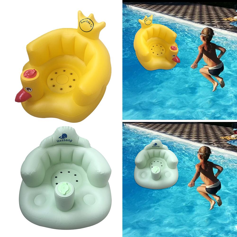 PVC Inflatable Baby Bath Stool Dining Chair Small Sofa For Children Multi-purpose Non-slip Inflatable Sofa