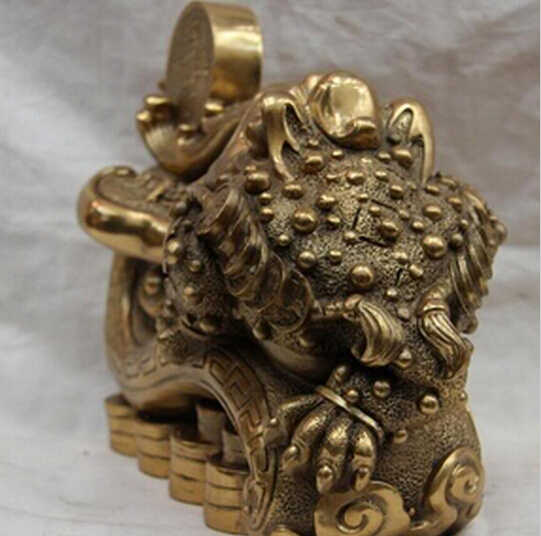 WBY---510+++Chinese Folk Copper Bronze Feng shui Lucky Wealth Yuanbao Coin RuYi Toad Statue