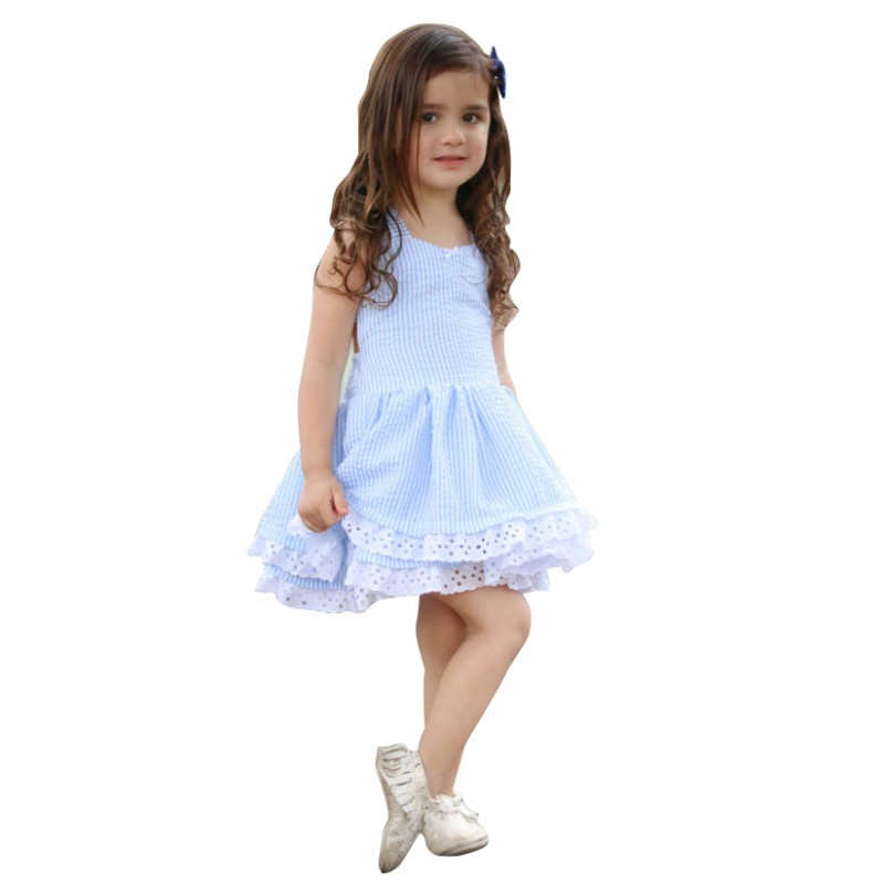 Baby Dresses Girl Baby Clothes Summer Girl Dress Double Blue Striped Back Bow Sweet Princess Girl Dress Baby Girl Clothes