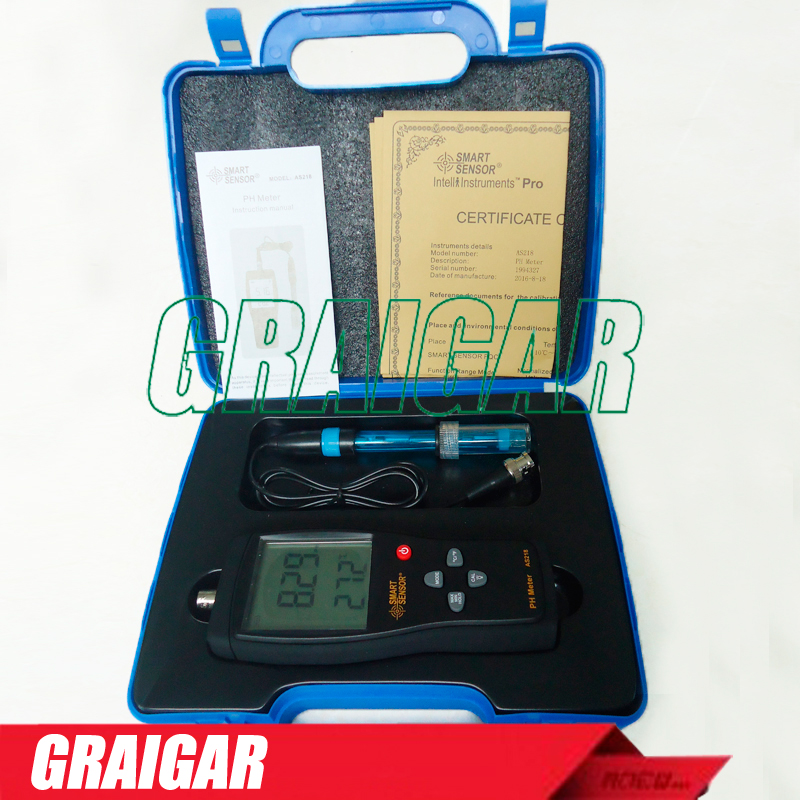 AS218 handheld PH Meter with range 0.00~14.00pH Moisture measuring instrument Soil tester acidity meter  vt 05 digital ph meter for soil with ph range 3 8ph moister range 1 8