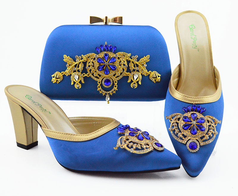 Royal blue italian shoes and bag matching set for african aso ebi party middle heel 3.5 inches slippers shoes clutches SB8384-9Royal blue italian shoes and bag matching set for african aso ebi party middle heel 3.5 inches slippers shoes clutches SB8384-9