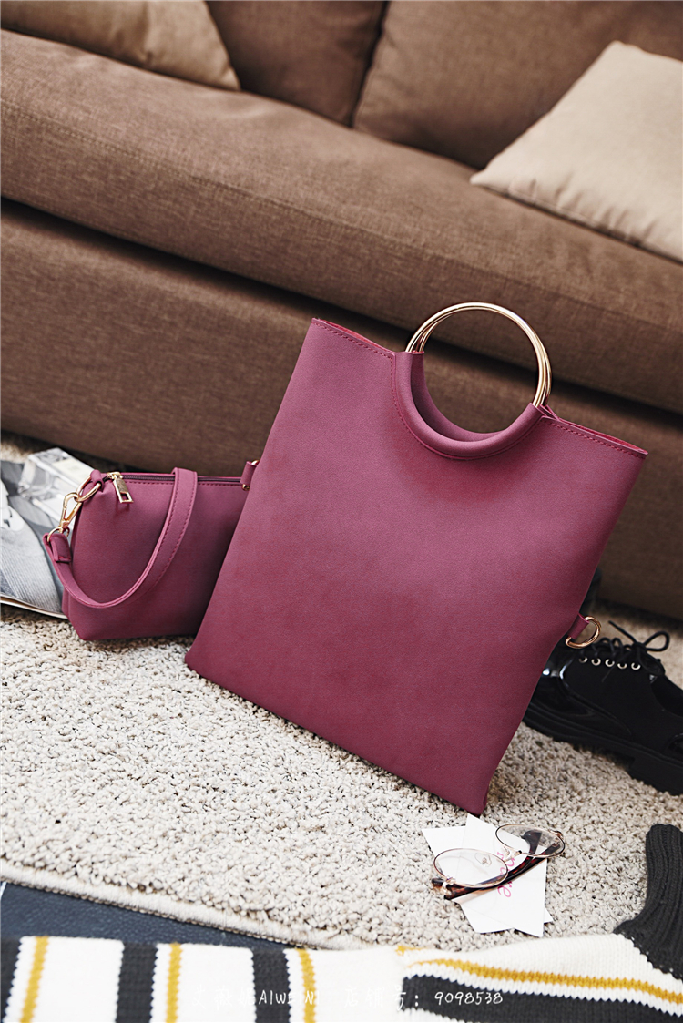 Casual Women Tote Bag 2 Pcs Set Folding Envelope Clutches Faux Suede Shoulder Bag Lady Hand Bag Black Red Shopper Handbag Purses 8