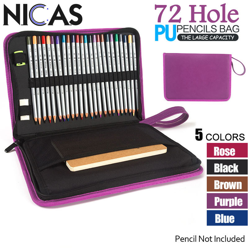 NICAS 72 Holders PU Leather Pencil Case Kalem Kutusu Stationery Carry Fold Case School Estuche Escolar Para Lapices Papeterie