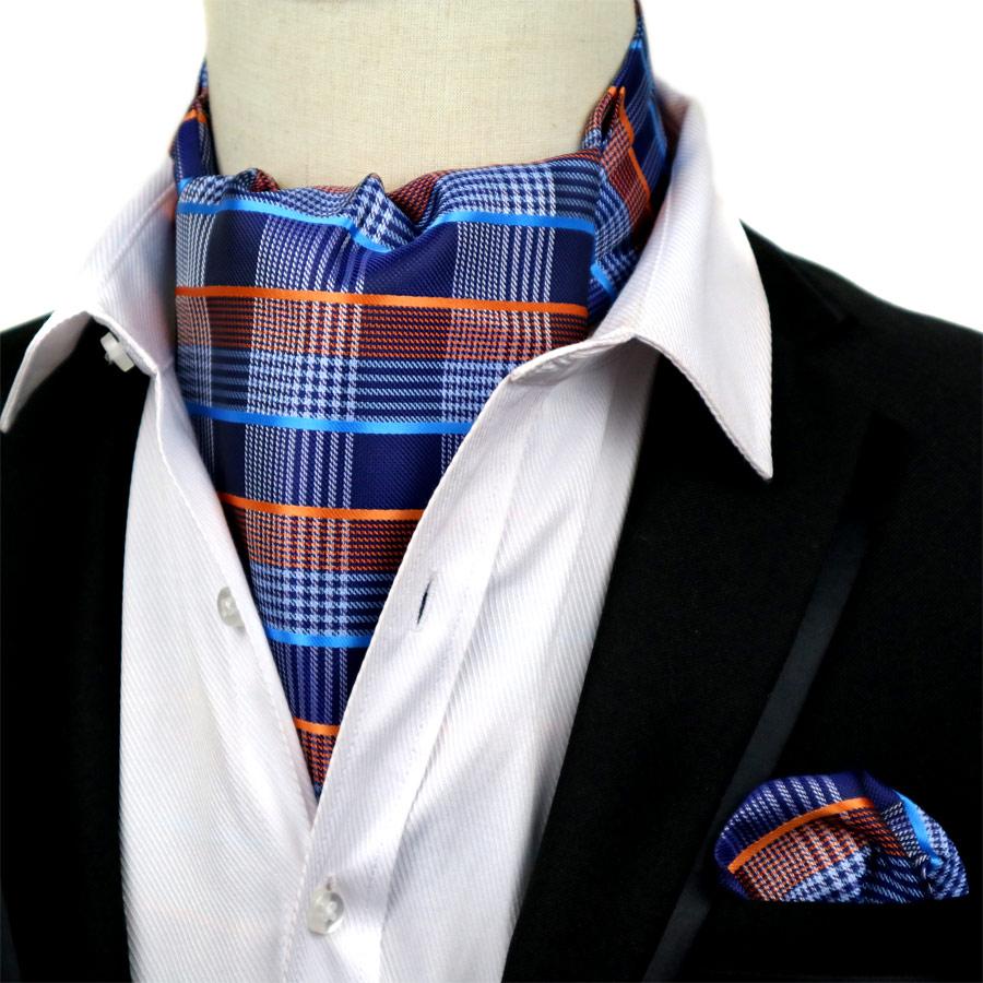 LJET-16 Men's Cravat Tie Set Handkerchief Silk Mixed Plaids Jacquard Ascot Necktie Sets Pocket Square Sets For Wedding Party