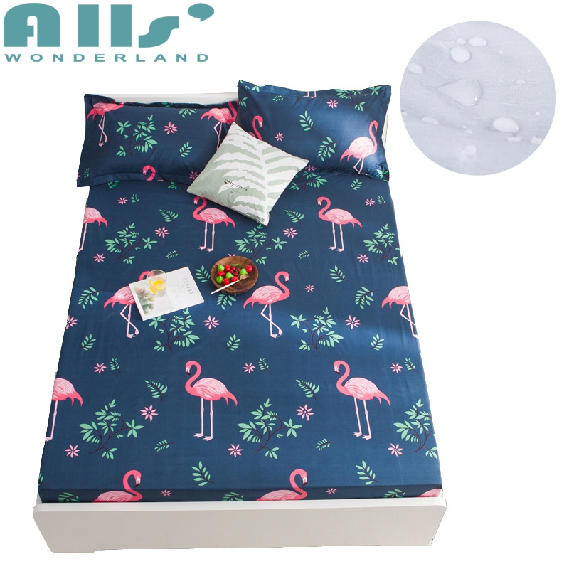 Flamingo Print Protector Cover Bed Mattress Waterproof Bed Mattress Cover Mattress Protector Queen Mattress Fitted Sheet Covers
