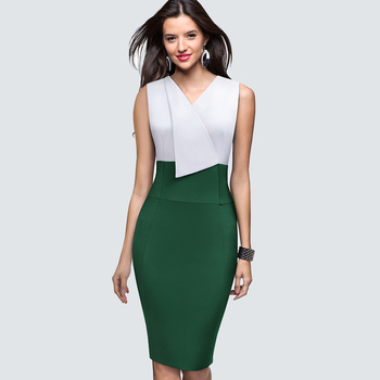 Women sleeveless Business Elegant Office lady dress Patchwork slim party summer pencil dress 1