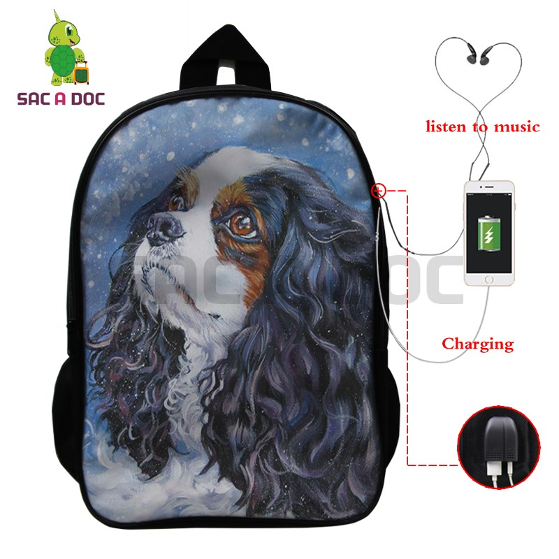 Cute Cavalier King Charles Spaniel Dog Backpack Multifunction USB Charging Laptop Backpack for Teenage Girls Boys School BagsCute Cavalier King Charles Spaniel Dog Backpack Multifunction USB Charging Laptop Backpack for Teenage Girls Boys School Bags
