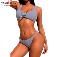 SEBOWEL Navy White Striped Bikinis Swimwear Women Sexy Push Up Swimsuit 2018 Pinstriped Bikini Set Femme