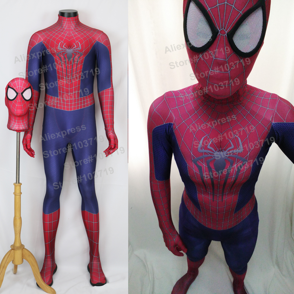 Hero Catcher High Quality 3D Pattern Amazing Spiderman Suit Spiderman Costume With Mask Hero Spiderman Spandex Suit