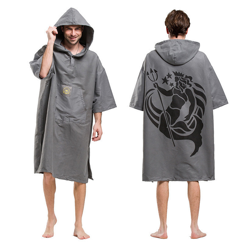 Printing Changing Robe Bath Towel Outdoor Adult Hooded Beach Towel Poncho Bathrobe Towel ...