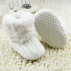 Теплые пинетки сапоги для малышей для девочек и мальчиков кроше вязаный флисовый загрузки Шерсть Снег кроватки ботинки зимние пинетки