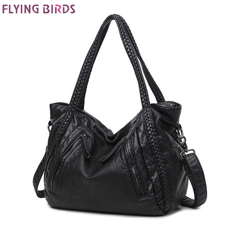 FLYING BIRDS 2018 Large Soft Leather Bag Women Handbags Ladies Crossbody Bags For Women Shoulder Bags Female Big Tote Sac A Main kzni women leather handbags genuine leather women messenger bags female purses and handbags sac a main bolsa feminina 1441